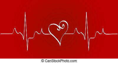 heart cardiogram with heart on red background