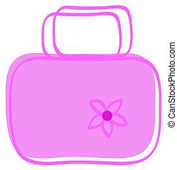ladies pink hand bag with flower - cartoon of ladies pink...
