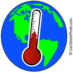 concept of global warming - globe and thermometer - concept...