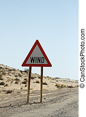 Road sign warnig against wind in Namibia