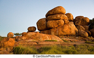 devils marbles, in the australian outback, northern...