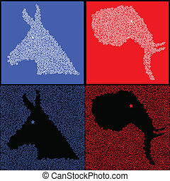 Star political party symbols - Democratic donkey and...