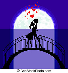 Lovers at bridge in moonlight - Silhouettes on the Moon of...
