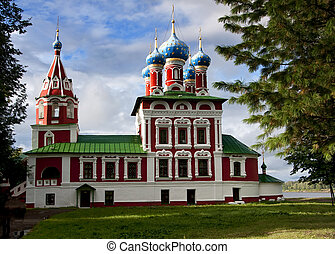Church of St. Dmitry on the Blood i - Blue domes, green roof...