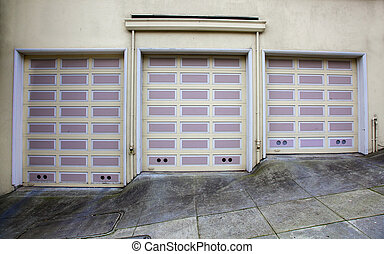 Three lavender garage doors - Three lavender and beige...