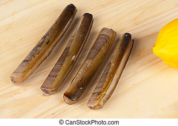 Razor clams - Freshly picked razor clams ready to be cooked