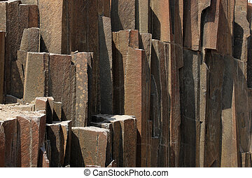 The Organ Pipes in Namibia, a formation of volcanic rocks in...