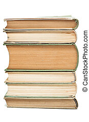 Stack of old, dicoloured books - Stack of six, old...