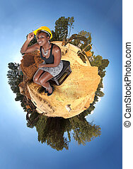 Female Construction Worker - A Female Construction Worker on...