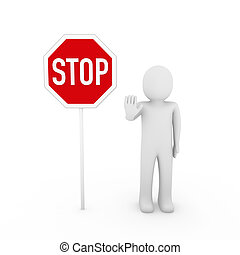 3d human stop red sign white