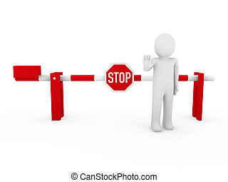 3d human stop barrier red warning people white