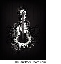 Electric Guitar With Abstract Swirl isolated on Black...