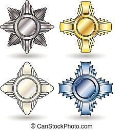Medals - Four awards of different shapes and made of...