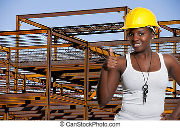 Female Construction Worker - Black woman African American...
