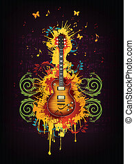 Electric Guitar - Acoustic Electric With Abstract Swirl...