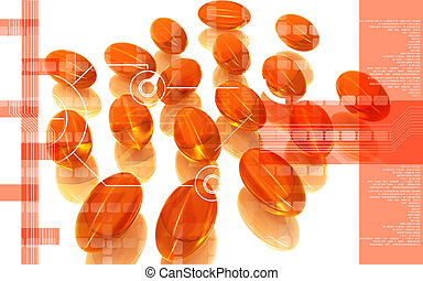 Liver cod capsule - Digital illustration of Liver cod...