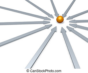 center - arrows and golden ball in the middle - 3d...