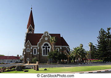 The Christ Church, a historic landmark in Windhoek, Namibia.