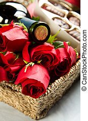 Roses, Wine and Chocolates in a large wicker tray