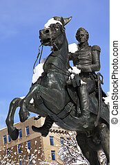 Andrew Jackson Horse Statue President's Park Lafayette Square After Snow Washington DC Built Made in 1850 Clark Mills Sculptor