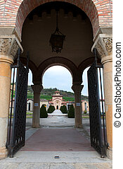 tomb of Benito Mussolini - Entrance to the cemetery with the...
