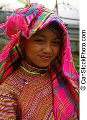 Hmong flowered girl portrait - Hmong flower girl returning...
