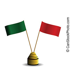 Realistic illustration the two flags red and green colors...