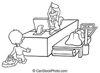 Baggage Check-In - Black and White Cartoon illustration,...