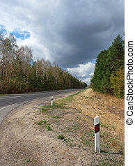 Summer Landscape with a road. Beautiful sky