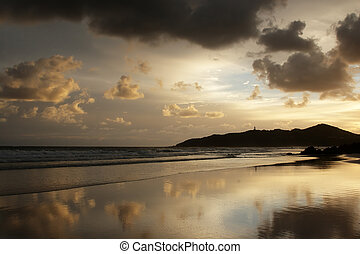 Beach of Byron Bay, Australia, at early morning with the...