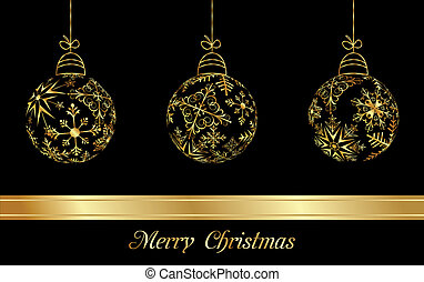 set Christmas balls made from golden snowflakes -...