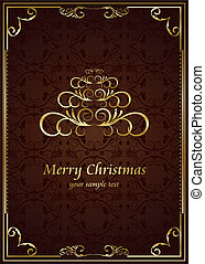 Christmas ornate frame with abstract pine. Vector