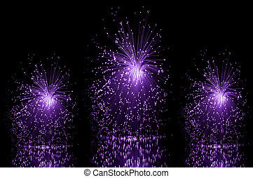 Fibre optic trio - Low level angle capturing three violet...