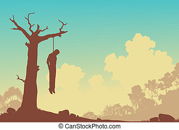 Hanging tree - Editable vector silhouette of a man hanged...