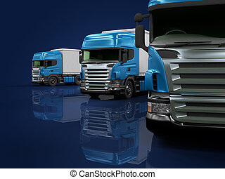 pesado, azul, Camiones, presentación