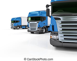Heavy blue trucks presentation isolated on white background