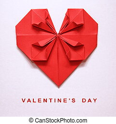 Valentine's Day Origami Card - Valentine's Day Red Heart...