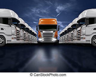Trucks presentation - Some white trucks and one red leader...