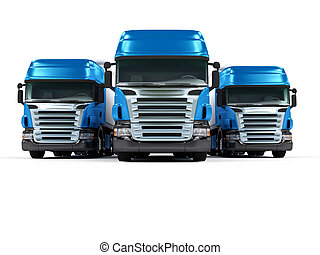 Heavy blue trucks isolated on white background - Some blue...