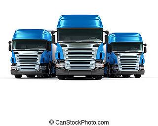 pesado, azul, Camiones, aislado, blanco, Plano de fondo