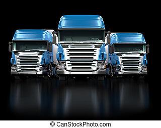 pesado, azul, Camiones, aislado, negro