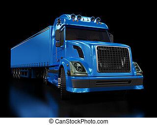pesado, azul, camión, aislado, negro