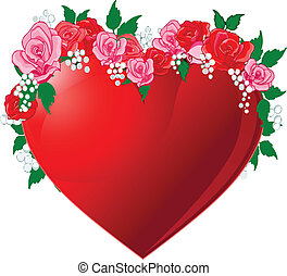 Red heart flanked by roses - Illustration of Red heart...