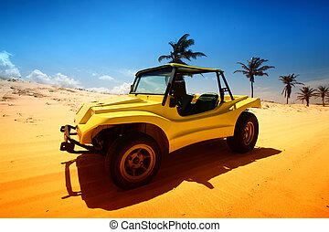 desert buggy in desert sand under blue sky