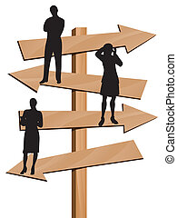 Business direction - Business people on arrows as symbol of...