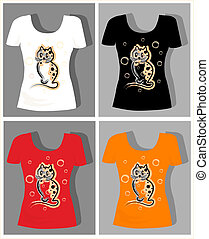 t-shirt design  with  funny kitten