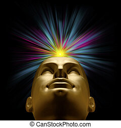Golden mannequin head with an explosion of pastel light...