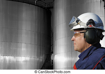 chemical-worker and fuel-tanks - oil and chemical-worker in...