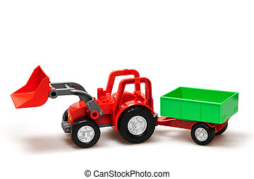 toy - red tractor isolated on white