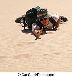 man in desert - young man in desert, sand